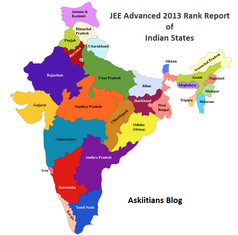 Following is the comprehensive list of states and union territories of India giving the registered versus qualified ratio of IIT candidates in the year 2013