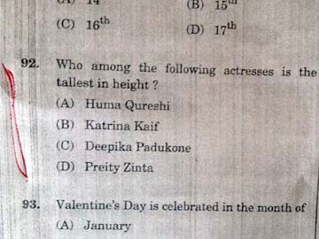 "SSC Exam Paper Asks - Who is ""Tallest""- Deepika, Katrina, Huma or Preity!"