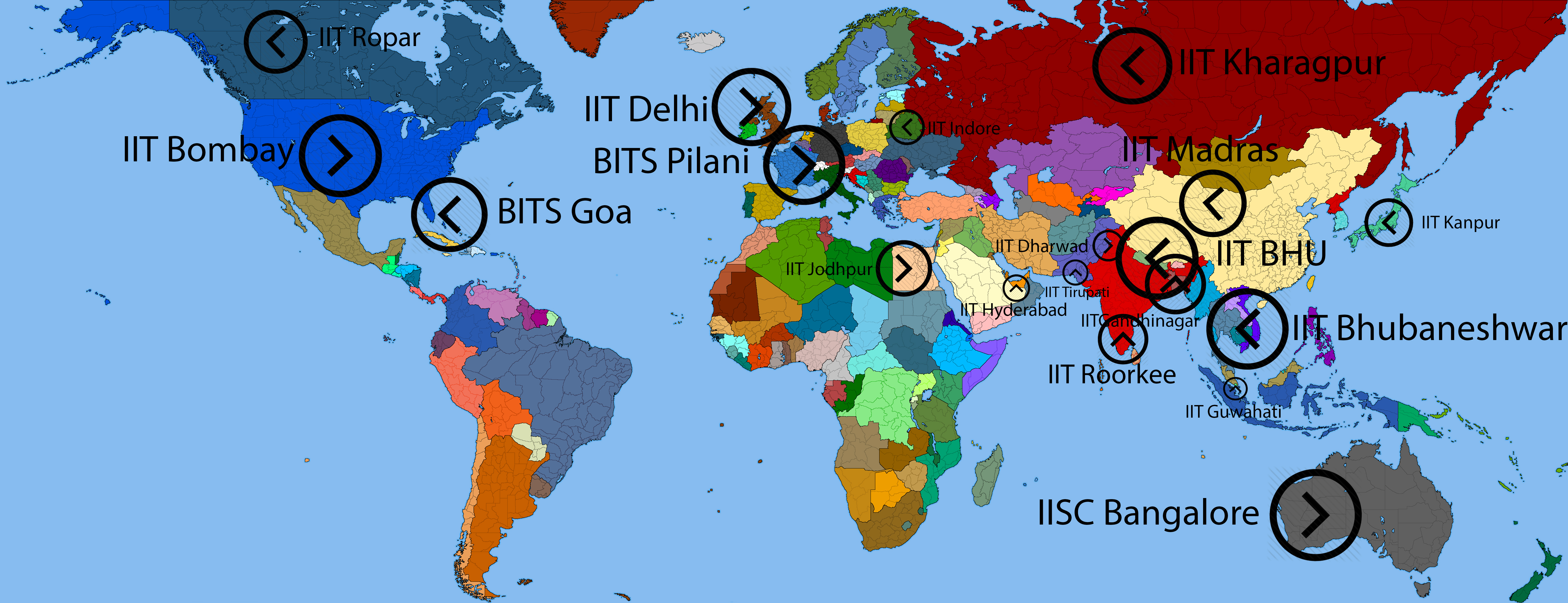 Iits on world map which country your iit represents askiitians wml7g1 gumiabroncs Gallery