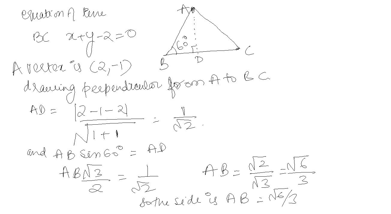 Analytical Geometry | the equation of the base of an equilateral ...